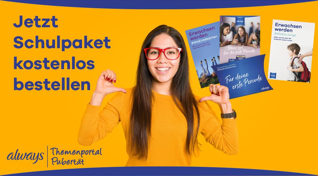 Mädchen mit roter Brille; Aufforderung zur Bestellung des Schulpakets