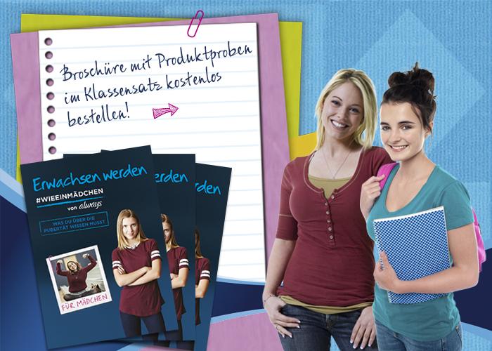 """Mädchen neben Broschüre """"Erwachsen werden"""""""