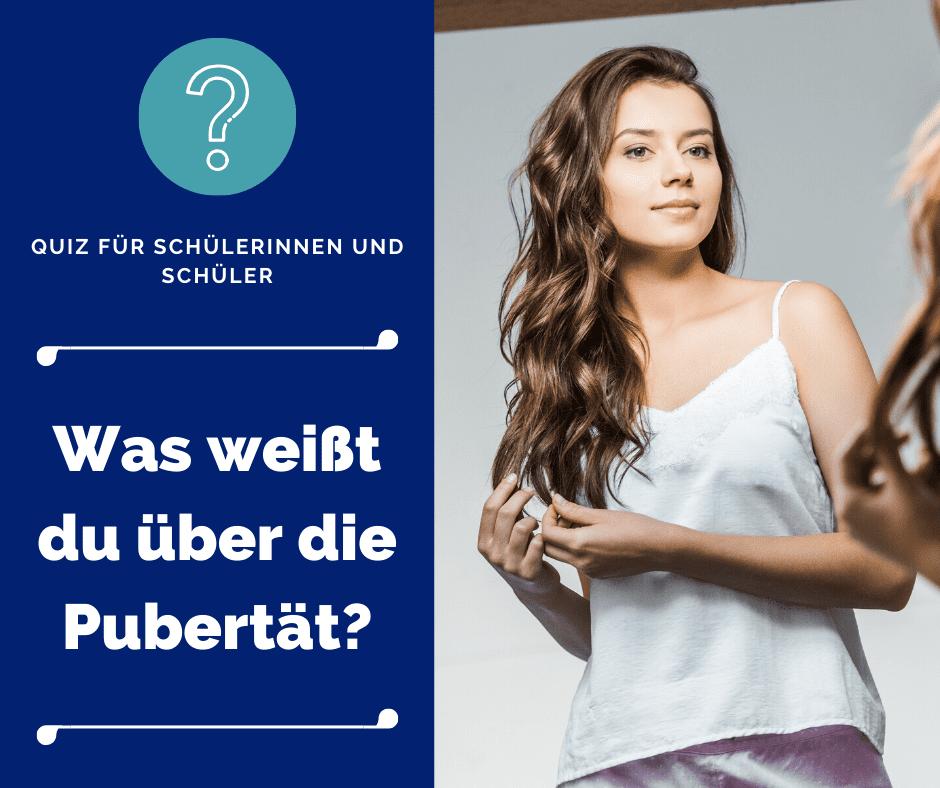 Schüler-Quiz: Was weißt du über die Pubertät; Mädchen vorm Spiegel